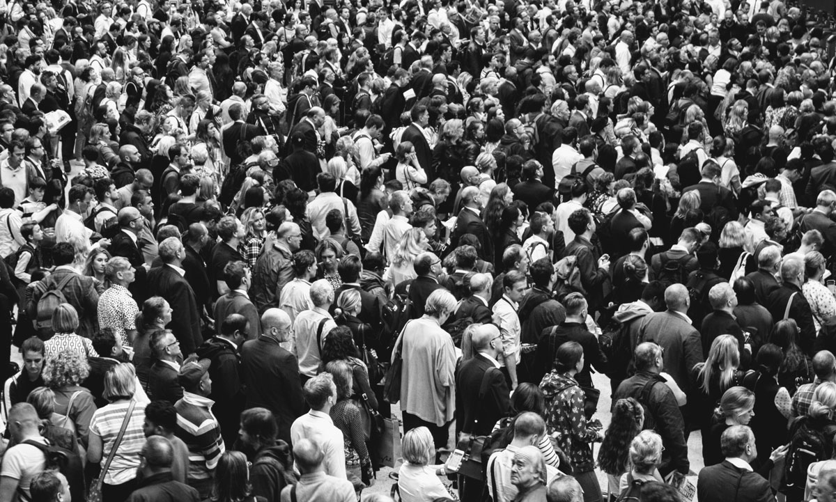 Black and white image of a large crowd